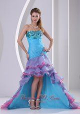 2013 Multi-color High-low Prom Dress Mermaid Beading and Ruch Organza In Summer   www.fashionos.com   | pageant dress for your party | multi color pageant dress | sexy pageant dress | flattering pageant dress for 2013 |