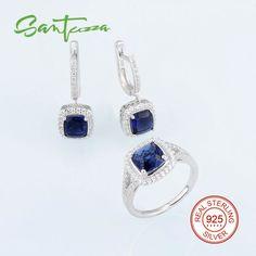 Bridal Jewelry Sets for Women Cushion Blue CZ Diamond Jewelry Set Drop Earrings Ring 925 Sterling Silver Women Jewelry Set