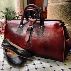 Handmade leather bag and shoes from Morocco.