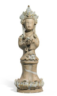 A 'QINGBAI' BISCUIT FIGURE OF A BODHISATTVA<br>SONG/YUAN DYNASTY | lot | Sotheby's