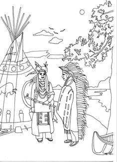 Free coloring page coloring-adult-two-native-americans-by-marion-c. Exclusive coloring page of Two Native Americans in traditional dress in front of a tipi, by Marion C