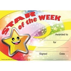 Reward progress and achievement with this 30 pack of cheerful A5 Star of the week certificate awards printed on 250gsm silk finish cad and ready to personalise.