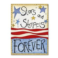 "Trademark Art 'Stars and Stripes' by Jennifer Nilsson Graphic Art on Wrapped Canvas Size: 32"" H x 24"" W x 2"" D"