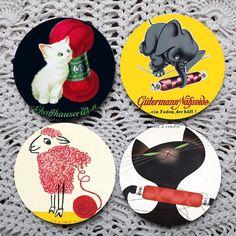 All Sewn Up  Vintage Thread & Yarn Advertising coaster set coasters by Polkadotdog