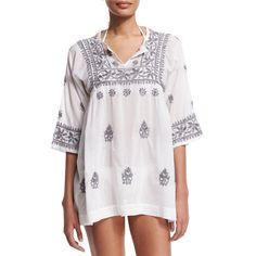 florabella Andronis Half-Sleeve Embroidered Tunic Coverup ($135) ❤ liked on Polyvore featuring tops, tunics, embroidered tops, white tunic, elbow length sleeve tops, flora bella and white pullover