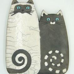 Plaque murale raku duo de chats
