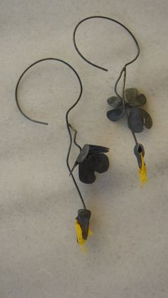 Repusse silver earings with hand dyed silk by Maria Vasiliou from Maria Vasiliou Kosmima.