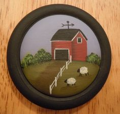 Primitive Folk Art Pin Hand Painted Wooden Button Burgundy Barn with Sheep and Fence