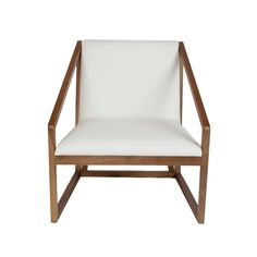 Gio Chair: crafted from Walnut and finished with an comfortable white seat. This chair is a great piece that ties the wood/leather we're using throughout one client's space. The chair is low profile so the shape will disappear into the space, making the space still feel big, while also providing extra seating for guests. Find out more at www.avenuespaces.com (30.5 inches x 35.5 inches)