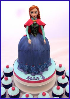 Anna doll cake - Cake by Heavenly Treats by Lulu Anna Frozen Cake, Anna Cake, Disney Frozen Cake, Frozen Theme, Disney Cakes, Cupcake Party, Cupcake Cakes, Cupcakes, Birthday Cakes