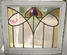 One Antique English Stained Glass Window 21 x 18 1/2 26 A More in our Store