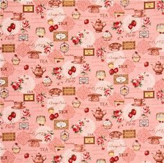 pink retro tea sweets Canvas fabric Cosmo Japan