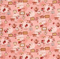 pink retro tea sweets Canvas fabric Cosmo Japan