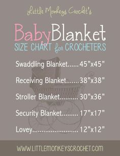 Baby Blanket size chart - crochet or knit Baby Blanket Size, Blanket Sizes, How To Sew Baby Blanket, Minky Blanket, Baby Sewing Projects, Sewing For Kids, Sewing Ideas, Crochet Projects, Manta Crochet