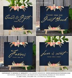 Navy Coral Wedding Signs, Navy Gold Wedding Signs, Navy Blush Wedding Signs, Navy Peach Wedding Signs, Cards and Gifts Sign, Guest Book Sign, Favors Sign, Love is Sweet Take a Treat Sign, Navy Blue Gold Wedding Reception Sign, Navy Wedding Gift Table Signs by Soumya's Invitations