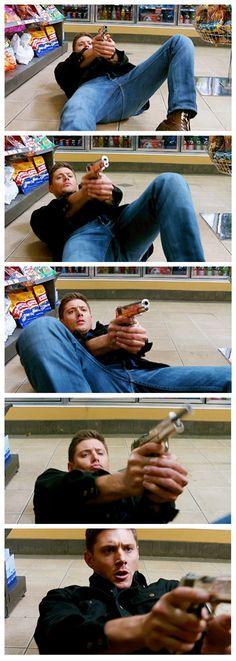 [GIFSET] badass Dean Winchester ... pin it again FOR REASONS ♥◡♥ #Jensen Ackles #Dean Winchester #Supernatural Book of the Damned 10x18 #porn!Dean #porn!gun