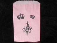 Princess Royal Wedding Prince Fleur De Lis Tiara Crown Fairytale Girls Birthday Party Bridal Shower Pink Paper Bags 6 favor candy buffet