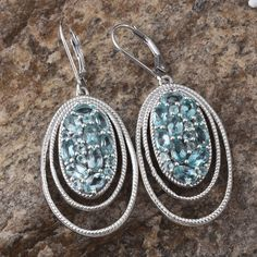 Madagascar Paraiba Apatite Lever Back Earrings in Platinum Overlay Sterling Silver (Nickel Free)