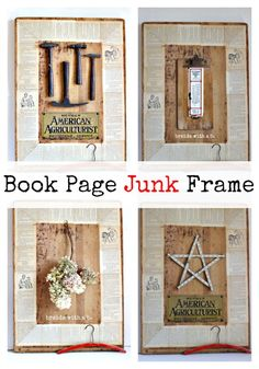How to turn a piece of salvaged wood and some old book pages into a beauty of a framed wall art!  It's interchangeable too!