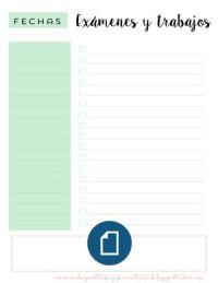 Organizador imprimible exámenes y Trabajos