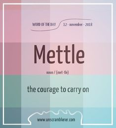Todays is: Mettle A new week a new word. On a monday we all need a little more mettle 😁 The post Mettle appeared first on Woman Casual. The Words, Weird Words, Words To Use, Cool Words, Beautiful Words In English, Interesting English Words, Unusual Words, English Phrases, Learn English Words
