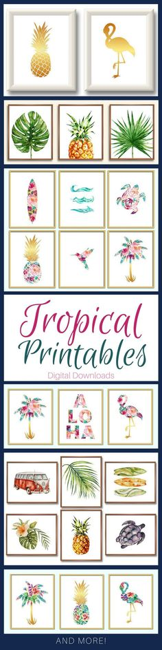 Tropical Art Printables. Available as whole sets! Pineapple, flamingo, palm leaves, palm trees, surf board, turtle . Great freebies to decorate a college dorm with.