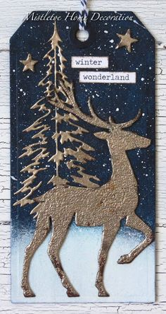 Mistletoe Home Decoration: Tag with deer and pine tree by Tim Holtz Christmas Cards 2018, Christmas Gift Tags, Xmas Cards, Handmade Christmas, Holiday Cards, Christmas Crafts, Woodland Christmas, Christmas Deer, Christmas Tables