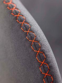 Armchair detail // color accent grey orange red felt textile / fabric chair furniture geometry pattern mesh rounded stiching // colore enfasi risalto grigio arancio rosso feltro tessuto poltrona mobile motivo maglia cucito