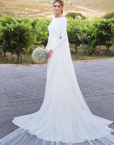 2018 New Country Wedding Dresses Long Sleeves Bateau Sheath Backless Court Train Dress For Bridal Gowns Vestidos De Noiva Cheap Customized Country Wedding Dresses, Modest Wedding Dresses, Boho Wedding Dress, Bridal Dresses, Wedding Gowns, Mermaid Wedding, Simple Dresses, Lace Wedding, Wedding Simple