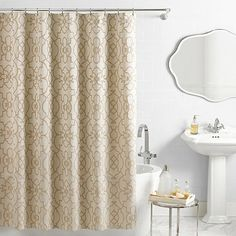 Buy VueR Signature Iron Gates Jacquard Shower Curtain In Ivory Tan From Bed Bath