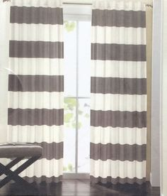 Hillcrest Gray Wide Stripe Window Curtain Cotton Drapes Hidden Tab Charcoal Grey #Hillcrest #Contemporary