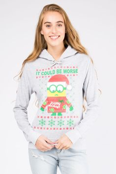 "Girls Minion ""It Could Be Worse"" Graphic Christmas Hoodie"