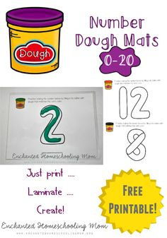 Have some hands-on learning fun with these number dough mats for practicing the numbers 0-20!