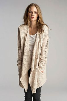 Always ready to add a sweater. Rivers Patchwork Cable Open Cardigan by Velvet Fashion Moda, Love Fashion, Womens Fashion, Fall Outfits, Cute Outfits, Fashion Outfits, Open Cardigan, Cable Cardigan, Cable Knit