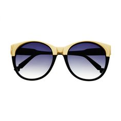 7b0d74357490 Designer fashion inspired large round sunglasses with gold metal half frame  Sunglasses