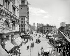 "Circa 1903. ""Herald Square, New York."" With Times Square in the distance, and the New York Times building going up at center. Other landmarks include Macy's, the New York Herald newspaper building, Sixth Avenue elevated tracks and Hotel Astor. 8x10 inch glass negative, Detroit Publishing Company.  Shorpy Historic Picture Archive :: New York Squared: 1903 high-resolution photo"