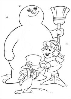 Frosty Snowman Coloring For Kids pdf printable Coloring Pages