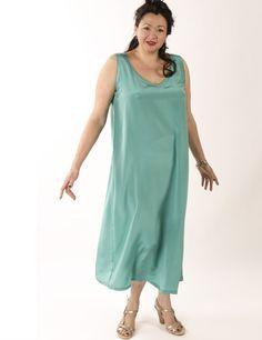 bc13e3c90393 Tank Dress Jade Silk Crepe (Plus-Size) Falde Kjoler