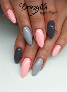 Look at these spring acrylic nails! Best Nail Art Designs, Acrylic Nail Designs, Nail Art For Beginners, Pointed Nails, Stiletto Nails, Almond Nails Designs, Almond Acrylic Nails, Chic Nails, French Tip Nails