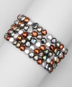 Take a look at this Chocolate & Opal Freshwater Pearl Stretch Bracelet Set by KWAN COLLECTIONS on #zulily today!