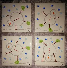 Tumbling Snowman Coasters - tiles, Sharpie markers, piece of felt hot-gl. Tumbling Snowman Coasters – tiles, Sharpie markers, piece of felt hot-glued to the back Childrens Christmas Crafts, Christmas Gifts For Parents, Winter Crafts For Kids, Preschool Christmas, Christmas Activities, Preschool Crafts, Kids Christmas, Holiday Crafts, Art For Kids