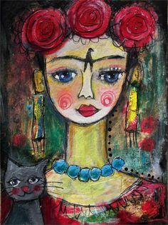 Frida Kahlo 46   Original Gemälde Mixed Media by SusaPaintings