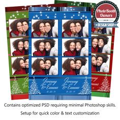 Floral Division Photo Booth Templates 3 Up Strips Photo Booth