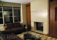 Cream colored concrete wall panels covering a gas fireplace. Concrete Fireplace, Gas Fireplace, Fireplace Ideas, Fireplaces, Concrete Wall Panels, Peaceful Home, Fireplace Surrounds, Hearth, Home Remodeling
