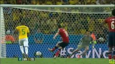 Rodriguez scores his 6th and last goal if the World Cup as Colombia lose 2-1 to Brazil