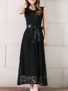 Elegant Bowknot Hollow Out   Round Neck Plain Maxi-dresses Maxi Dresses from fashionmia.com