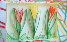 tulipany z pasków papieru Spring Crafts, Videos Funny, Preschool Activities, Diy And Crafts, Kids, Google, Fiestas, Paper, Crafts