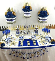 Royal Prince Baby Shower Candy Buffet by PlatinumDiaperCakes Baby Shower Candy, Royal Baby Showers, Boy Baby Shower Themes, Baby Shower Favors, Baby Shower Parties, Baby Boy Shower, Shower Party, Cake Pops, Diaper Cake Centerpieces