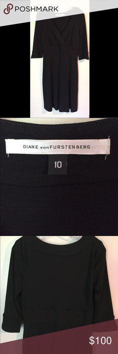 Diane Von Furstenberg Black Wool Dress Very flattering Diane Von Furstenberg black wool dress. The flattering v-neckline without the wrap hassle. Three quarter sleeves. 100% Wool. Diane von Furstenberg Dresses