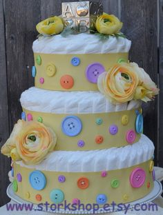 Button Theme diaper cake